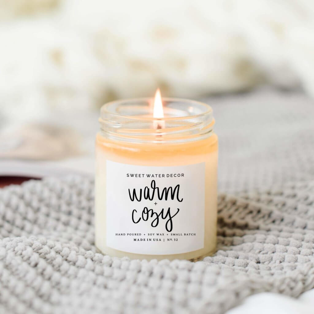 Warm and Cozy Soy Candle - Best Gifts for Homebodies - The Minted Life Lifestyle Blog for Women
